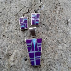 Sterling silver inlaid earrings and pendant SET